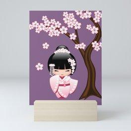 Japanese Bride Kokeshi Doll on Purple Mini Art Print