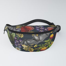 Flying Fox and Floral Pattern Fanny Pack
