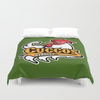 hyrule Duvet Covers featuring Hyrule Cuccos by Buby87