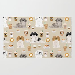 Pekingese dog breed dog pattern pet portraits coffee food dog breeds pet friendly Rug
