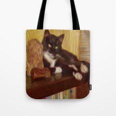Little Black Rainbow Cat Tote Bag