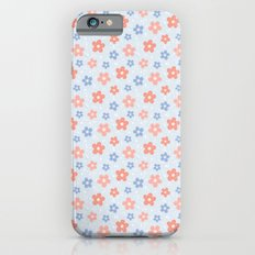 Blue Pink Flower Pattern Slim Case iPhone 6s