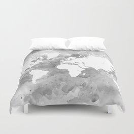 Design 49 Grayscale World Map Duvet Cover