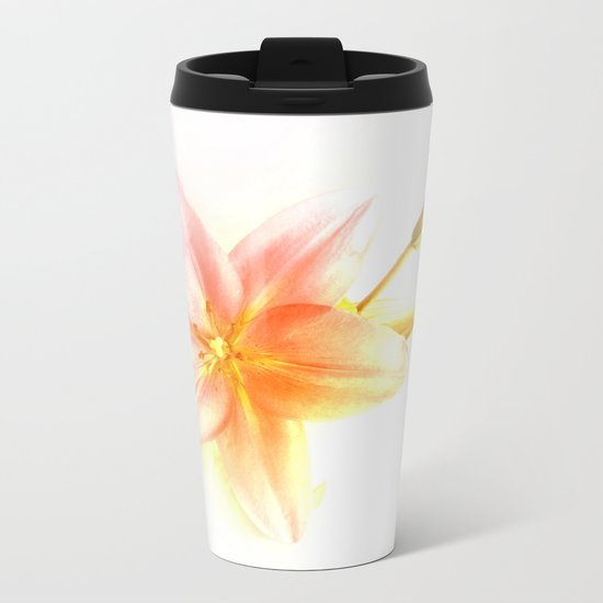 Pink and Yellow Tiger Lily - Dreamy Floral Photography - Flower Art Prints, T-shirts, Phone Cases... Metal Travel Mug