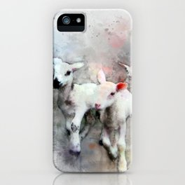Three pet lambs watercolor iPhone Case