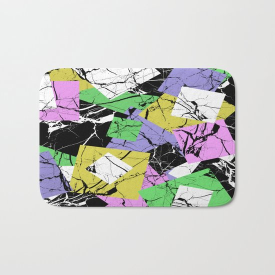 Pastel Marble Tiles Abstract Pattern Bath Mat