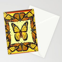 ORIGINAL DESIGN  ABSTRACT OF YELLOW & ORANGE MONARCH BUTTERFLIES BROWN ART Stationery Cards