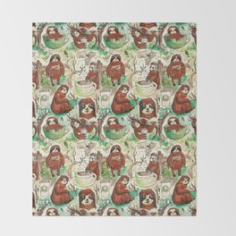 sloth in coffee pattern Throw Blanket
