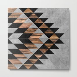 Urban Tribal Pattern No.10 - Aztec - Concrete and Wood Metal Print