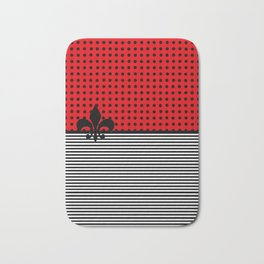 Cherry Red -  Dots and Lines Bath Mat