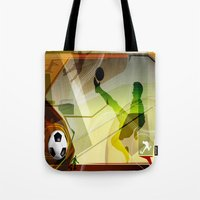 soccer Tote Bags featuring Soccer by Robin Curtiss