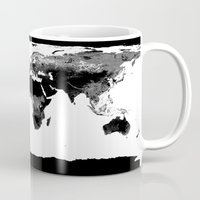 world map Mugs featuring World Map  Black & White by Whimsy Romance & Fun