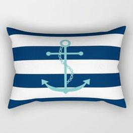 Aqua Anchor Shape on Wide Stripes Pattern Rectangular Pillow