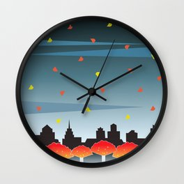 Autumn Red And Gold Wall Clock