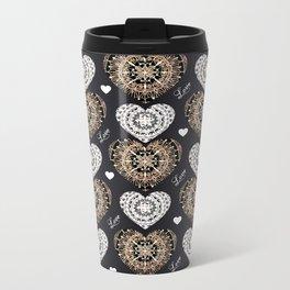 Rose-Gold, Silver, and Black Mandala Hearts with Love Metal Travel Mug