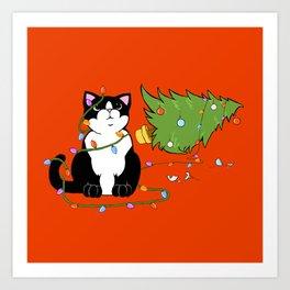 Tuxedo Cat Knocks Over Christmas Tree Art Print