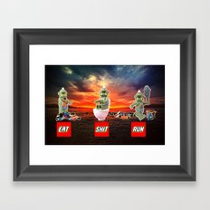 EAT SHIT RUN CYCLOPS LEGO Framed Art Print