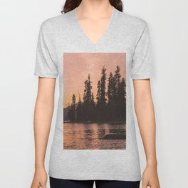 Forest Island at the Lake - Nature Photography Unisex V-Neck