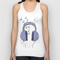 music notes Tank Tops featuring Music by LCMedia