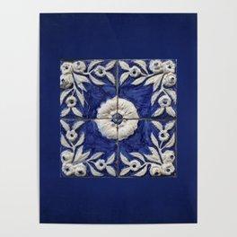 antique blue tile Poster