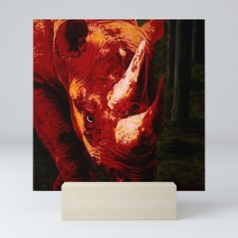 Devil by my Side, Rhino in Red Mini Art Print