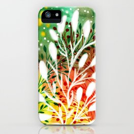 Green Abstract Background and White Leaves iPhone Case