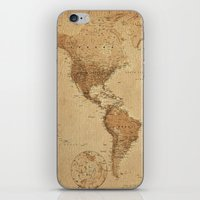 vintage map iPhone & iPod Skins featuring VINTAGE MAP by Oksana Smith