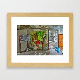riding the rocket of doom Framed Art Print