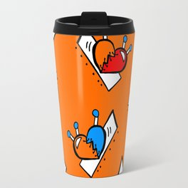 Hearts with Stitches - Blue Red Orange - Orange Travel Mug