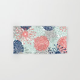 Floral Print - Coral Pink, Pale Aqua Blue, Gray, Navy Hand & Bath Towel