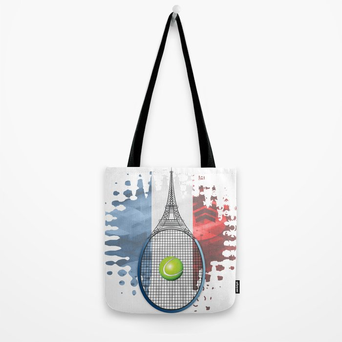 Racquet Eiffel Tower with French flag colors in background Tote Bag