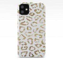 Modern white chic faux gold foil leopard print iPhone Case