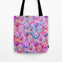 Watercolour & Rainbow Ink Flowers , Colorful Floral Painting Tote Bag