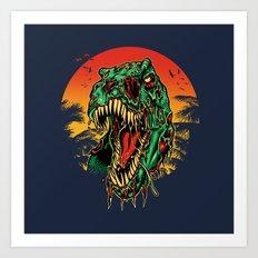 Zombie T-Rex Art Print