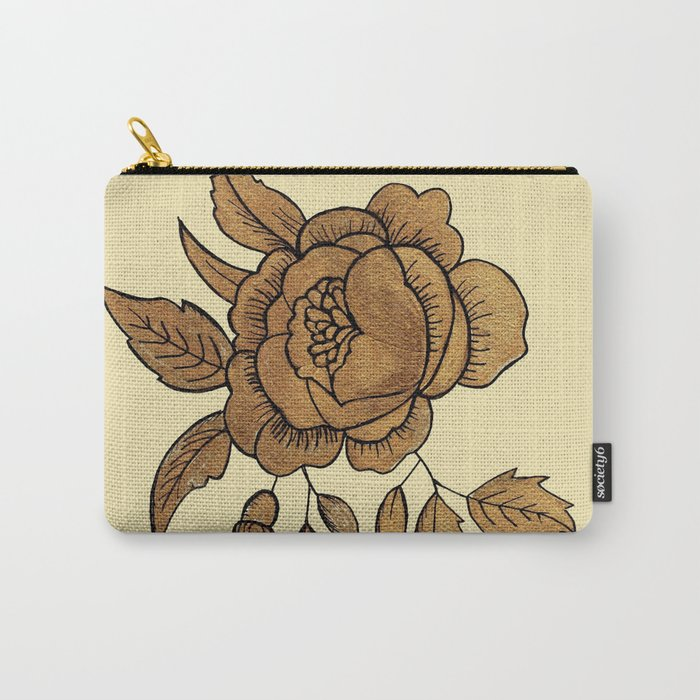 Rose in Gold Carry-All Pouch