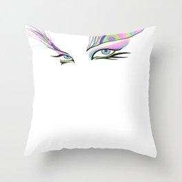 Peacock White  Throw Pillow