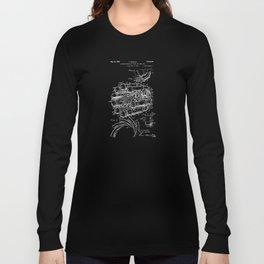 Jet Engine: Frank Whittle Turbojet Engine Patent - White on Black Long Sleeve T-shirt