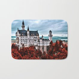 The Castle of Mad King Ludwig in the Autumn, Neuschwanstein Castle, Bavaria, Germany Bath Mat