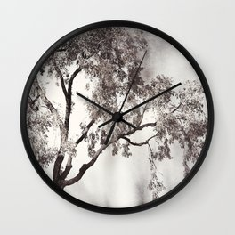 Black and White Tree Branches Photography, Grey Nature Neutral Branch, Gray Mysterious Dark Spooky Wall Clock
