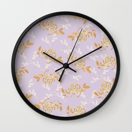 Gold & pearl watercolor flowers on lilac seamless pattern Wall Clock