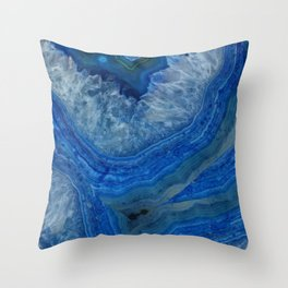 blue agate crystals Throw Pillow