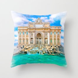 La Dolce Vita - Rome's Trevi Fountain Throw Pillow