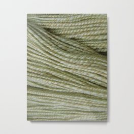 Yellow, light green handspun yarn Metal Print