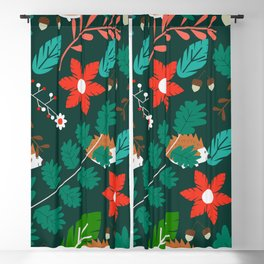 Hedgehogs, flowers and leaves Blackout Curtain
