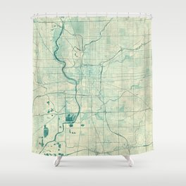 Indianapolis Map Blue Vintage Shower Curtain
