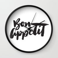 bon iver Wall Clocks featuring Bon Appétit by Matthew Taylor Wilson