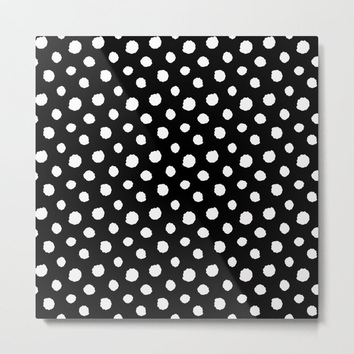 Minimal- white polka dots on black - Mix&Match with Simplicty of life Metal Print