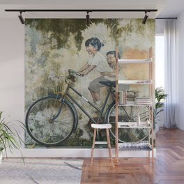 Children Ride Bicycle Graffiti Wall Mural