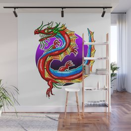 Chinese Dragon In The Moonlight Wall Mural
