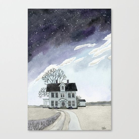 House under the Starry Skies Canvas Print